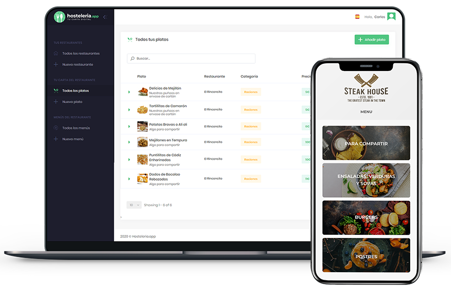 carta digital online para restaurantes
